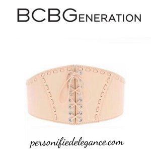 BCBGeneration Pink Faux Leather Corset Belt M/L